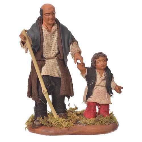 Homme et enfant main dans la main 10 cm crèche Naples 1