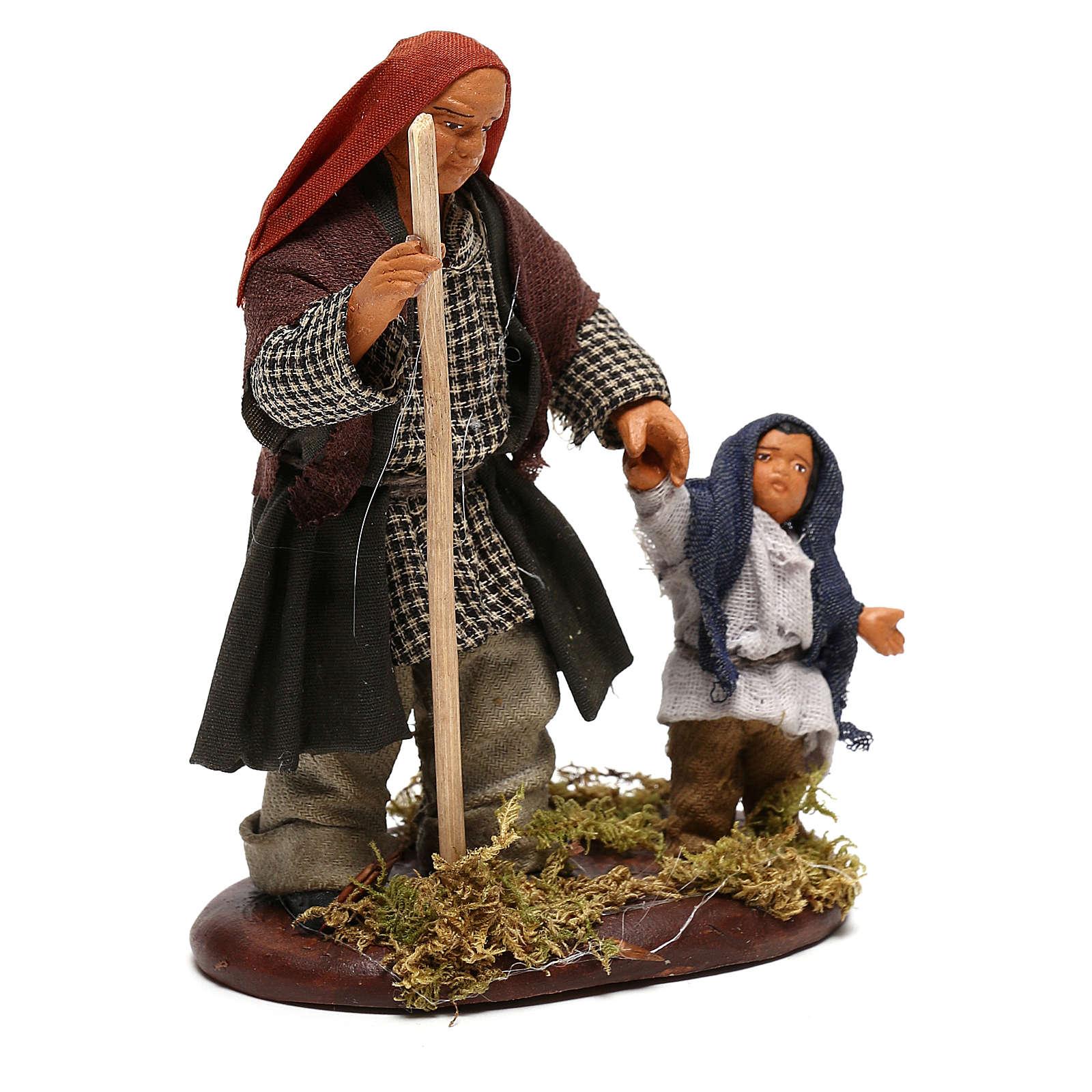 Man taking child by hand, Neapolitan Nativity 10cm 4