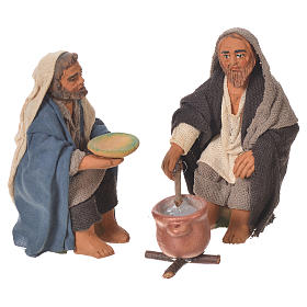 Man and woman cooking, Neapolitan Nativity 10cm s1