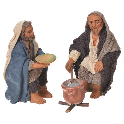 Man and woman cooking, Neapolitan Nativity 10cm 1