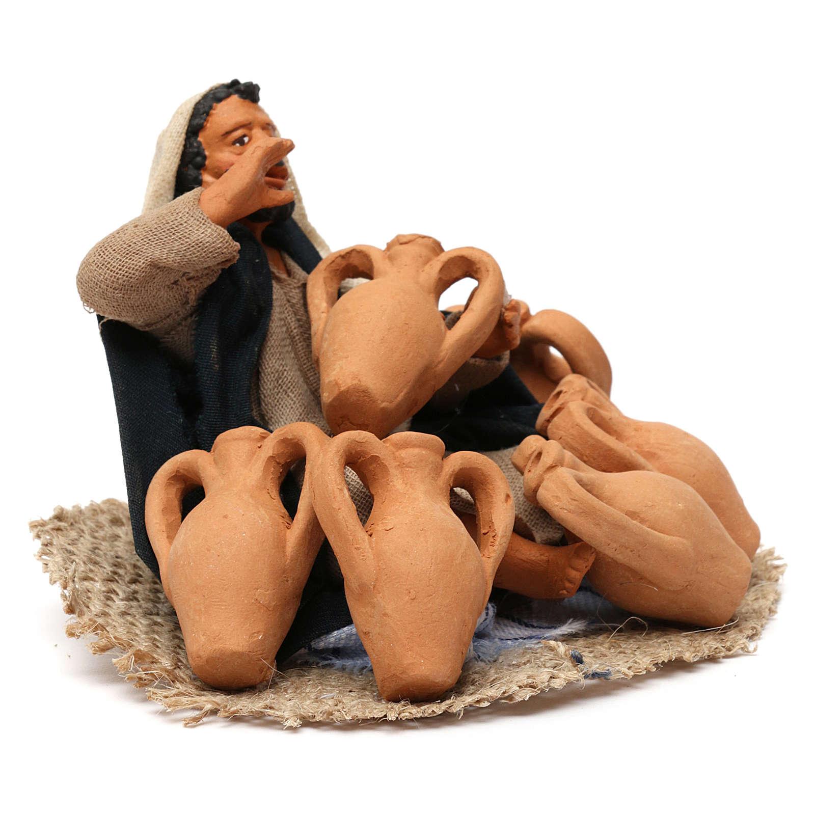 Arabian man with amphorae, Neapolitan Nativity 12cm 4
