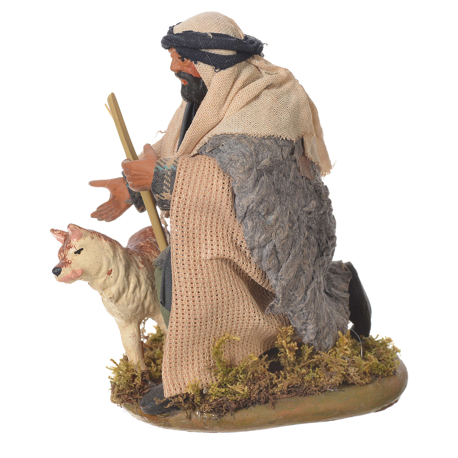 Uomo inginocchiato con cane 12 cm presepe Napoli 4