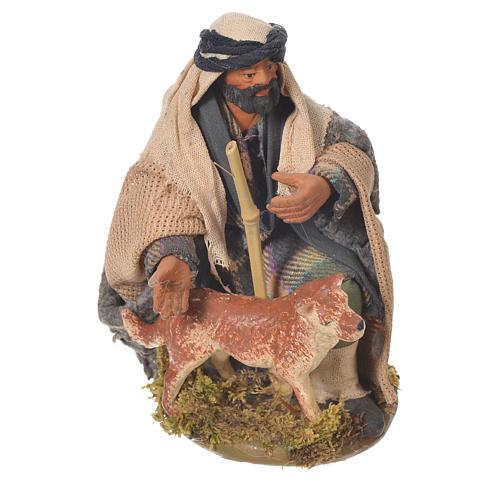 Uomo inginocchiato con cane 12 cm presepe Napoli 1