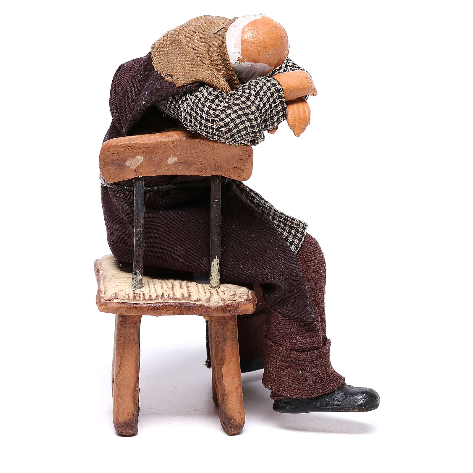 Ubriaco dorme su sedia 12 cm presepe Napoli 4