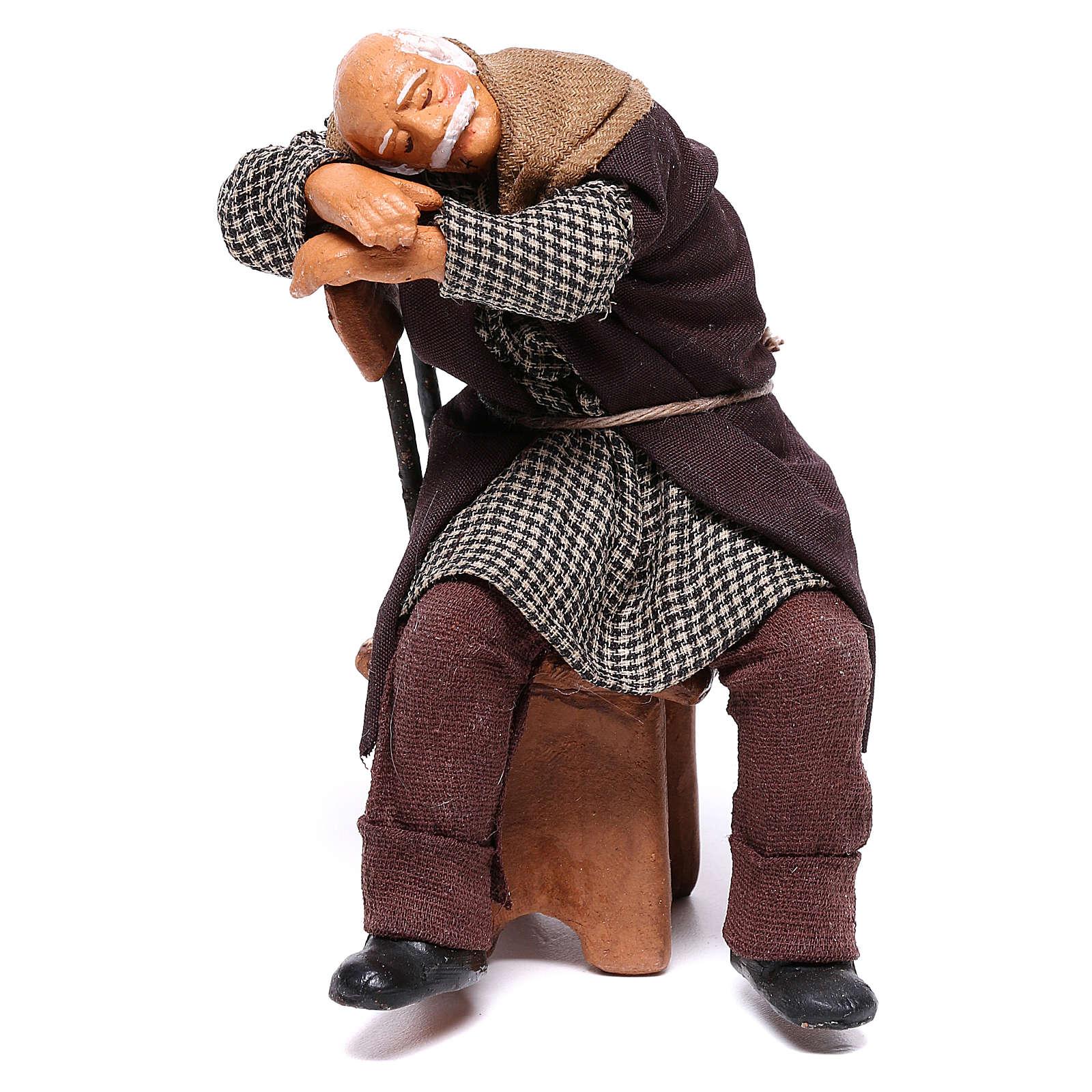 Pijak śpiący na krześle 12 cm szopka z Neapolu 4