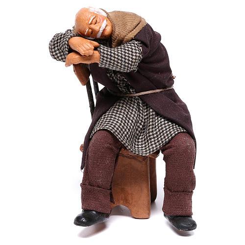 Bêbado adormecido na cadeira para presépio napolitano com figuras de 12 cm  de altura média 1