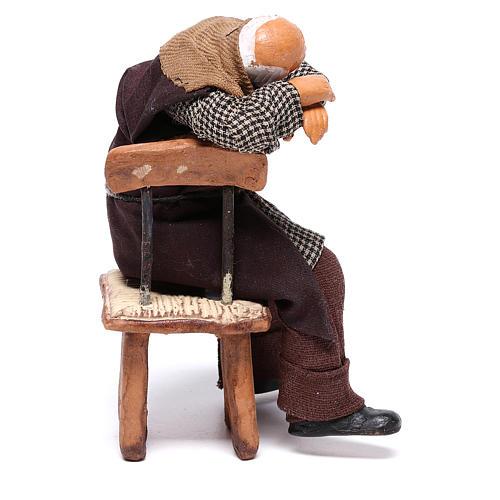 Bêbado adormecido na cadeira para presépio napolitano com figuras de 12 cm  de altura média 4