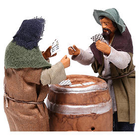 Card players with cask, Neapolitan Nativity 12cm s2