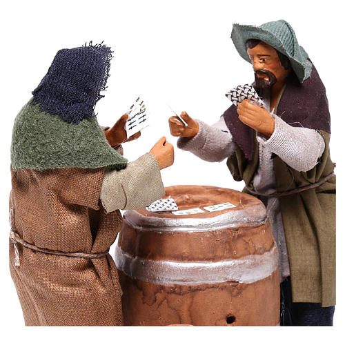Card players with cask, Neapolitan Nativity 12cm 2