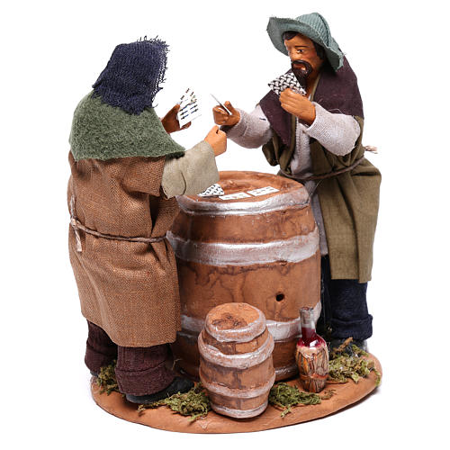 Card players with cask, Neapolitan Nativity 12cm 4