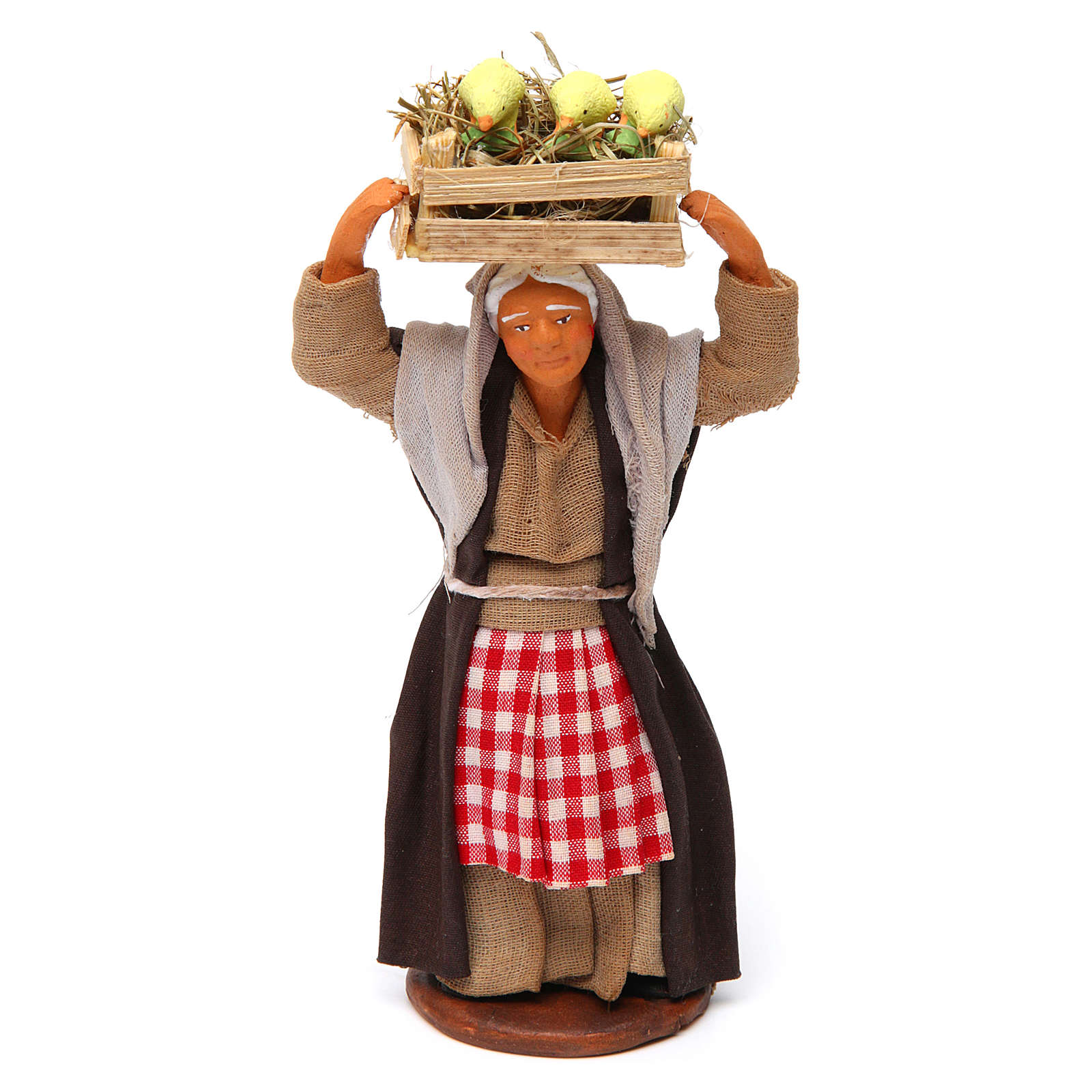 Mujer con caja de pollitos 12 cm belén Nápoles 4