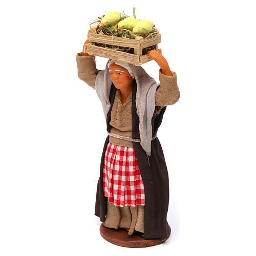 Mujer con caja de pollitos 12 cm belén Nápoles 2