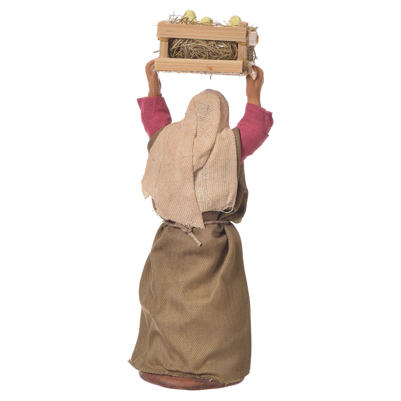 Donna con cassetta di pulcini 12 cm presepe Napoli 4