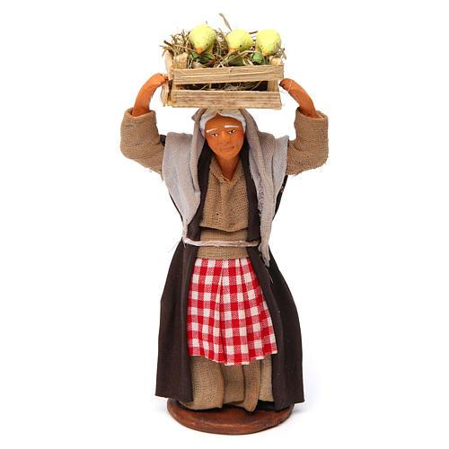 Donna con cassetta di pulcini 12 cm presepe Napoli 1