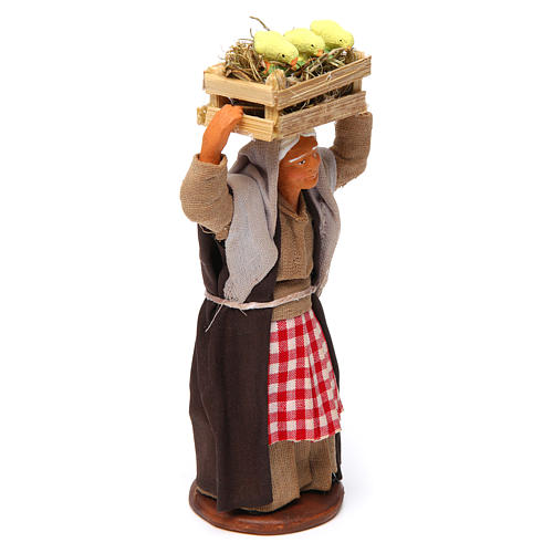 Donna con cassetta di pulcini 12 cm presepe Napoli 3