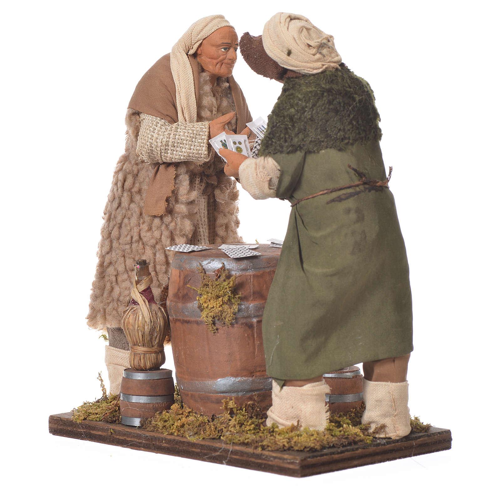 Men playing cards, Neapolitan Nativity 14cm 4