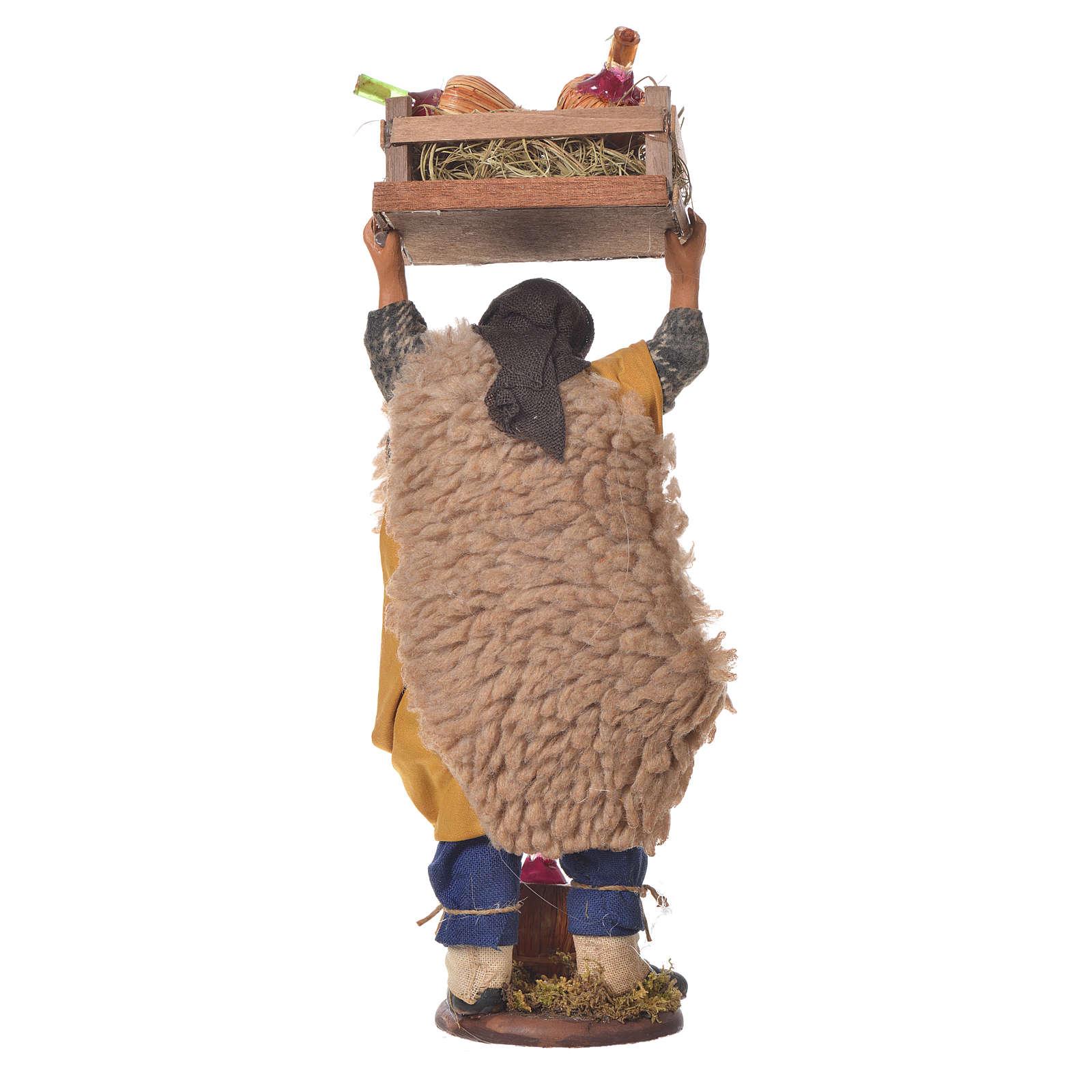 Homme transportant des fiasques 14 cm crèche napolitaine 4