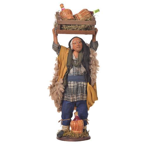 Homme transportant des fiasques 14 cm crèche napolitaine 1