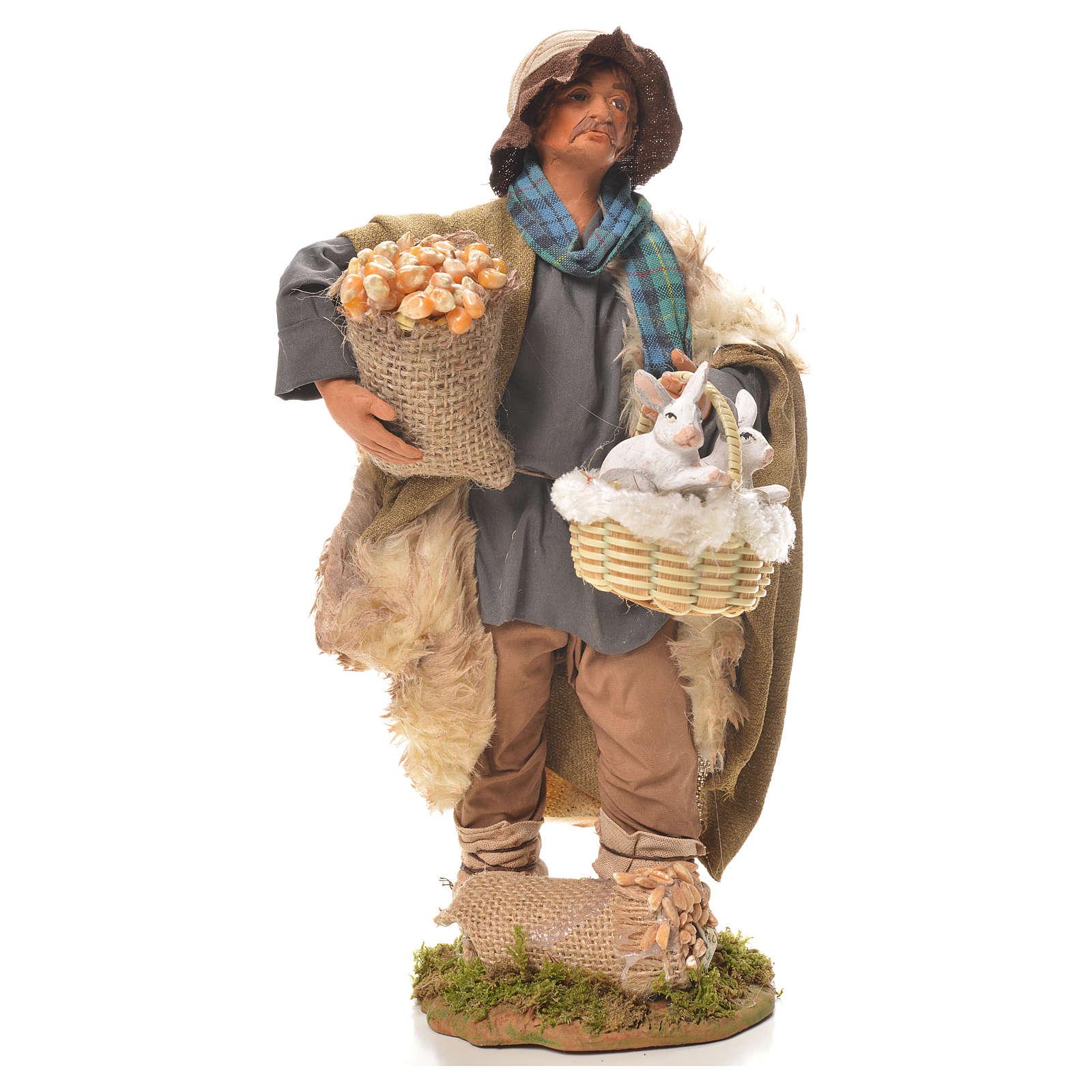 Uomo con cesto di conigli 24 cm presepe Napoli 4