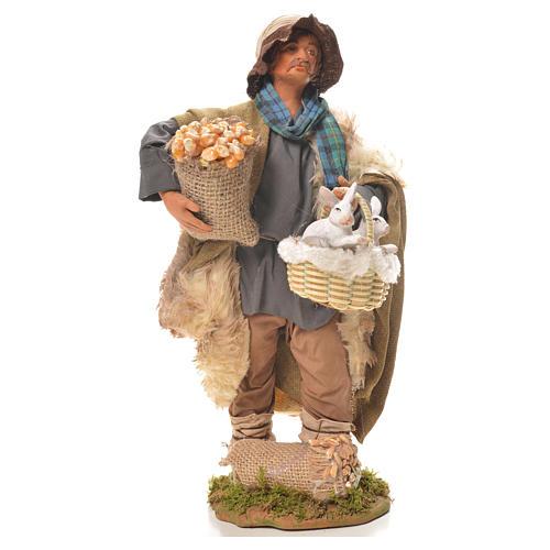 Uomo con cesto di conigli 24 cm presepe Napoli 1