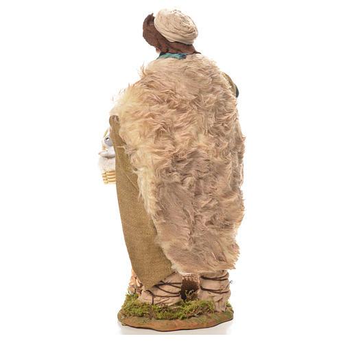 Uomo con cesto di conigli 24 cm presepe Napoli 3