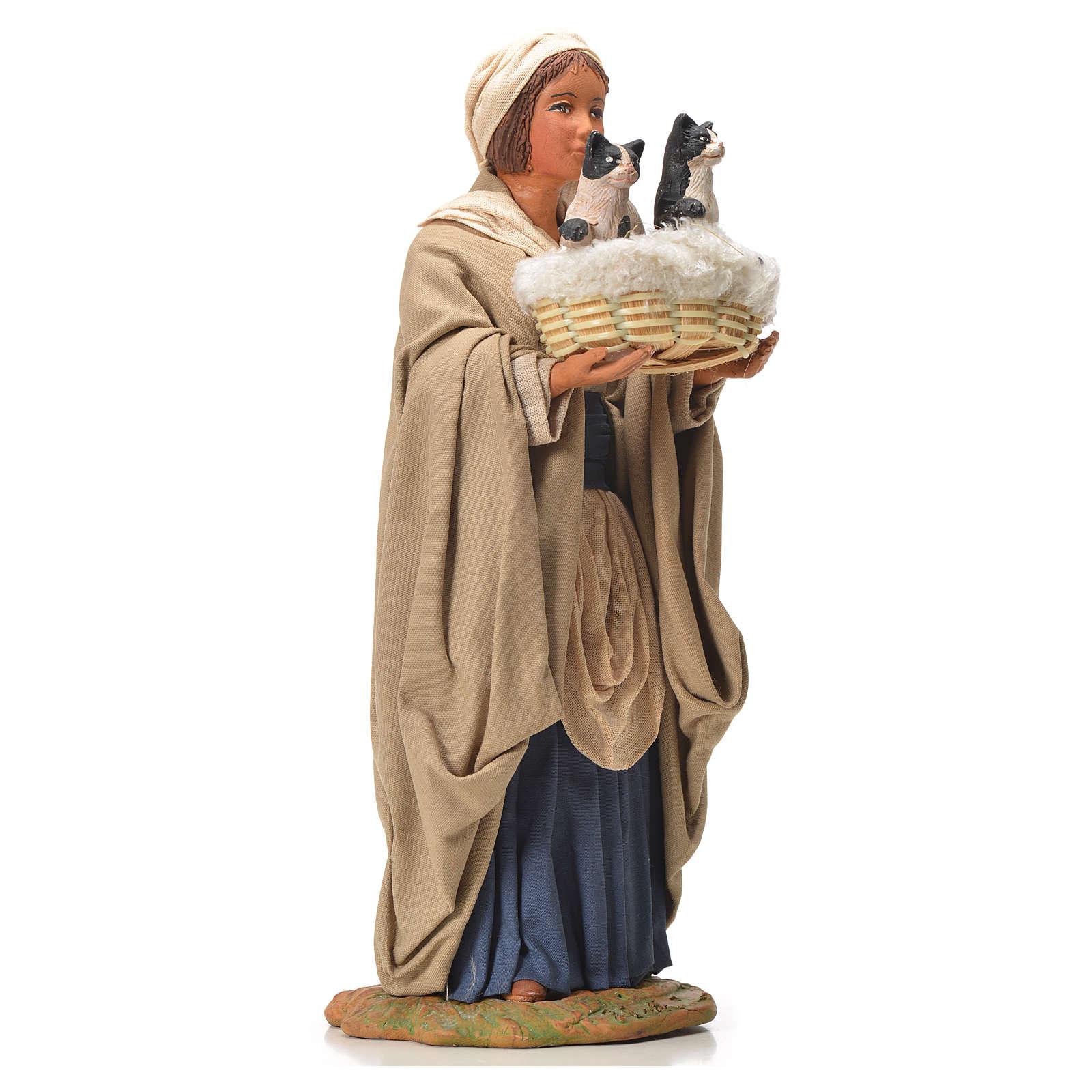 Mujer con cesta y gatos 24 cm belén Napolitano 4