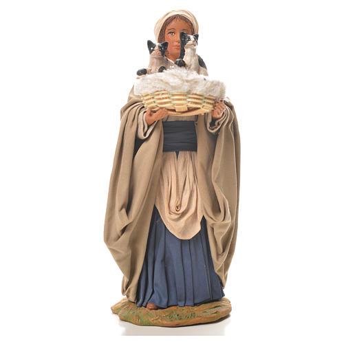 Mujer con cesta y gatos 24 cm belén Napolitano 1