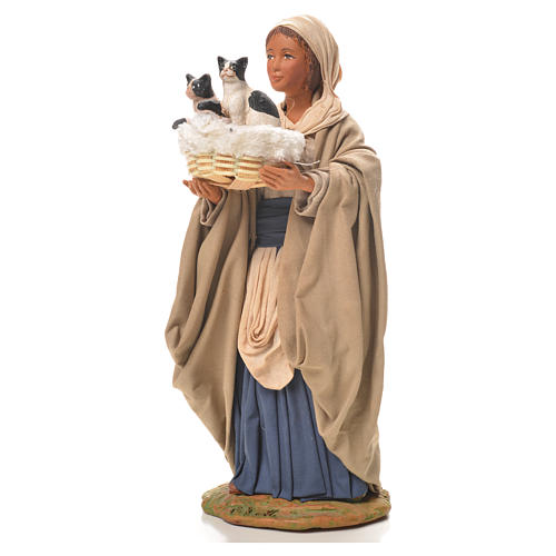 Mujer con cesta y gatos 24 cm belén Napolitano 2