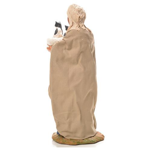 Mujer con cesta y gatos 24 cm belén Napolitano 3