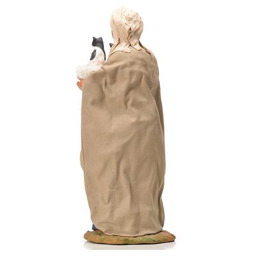 Mujer con cesta y gatos 24 cm belén Napolitano 7