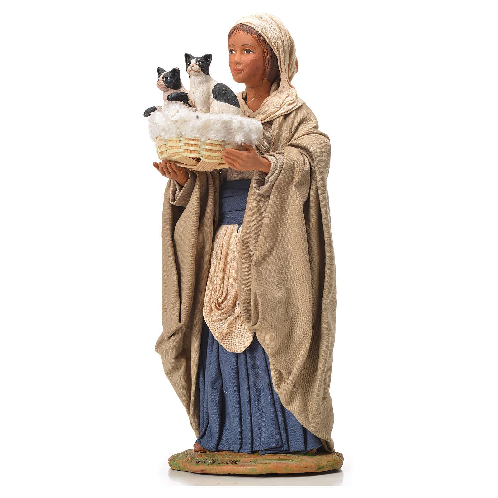 Donna cesto gatti 24 cm presepe napoletano 4
