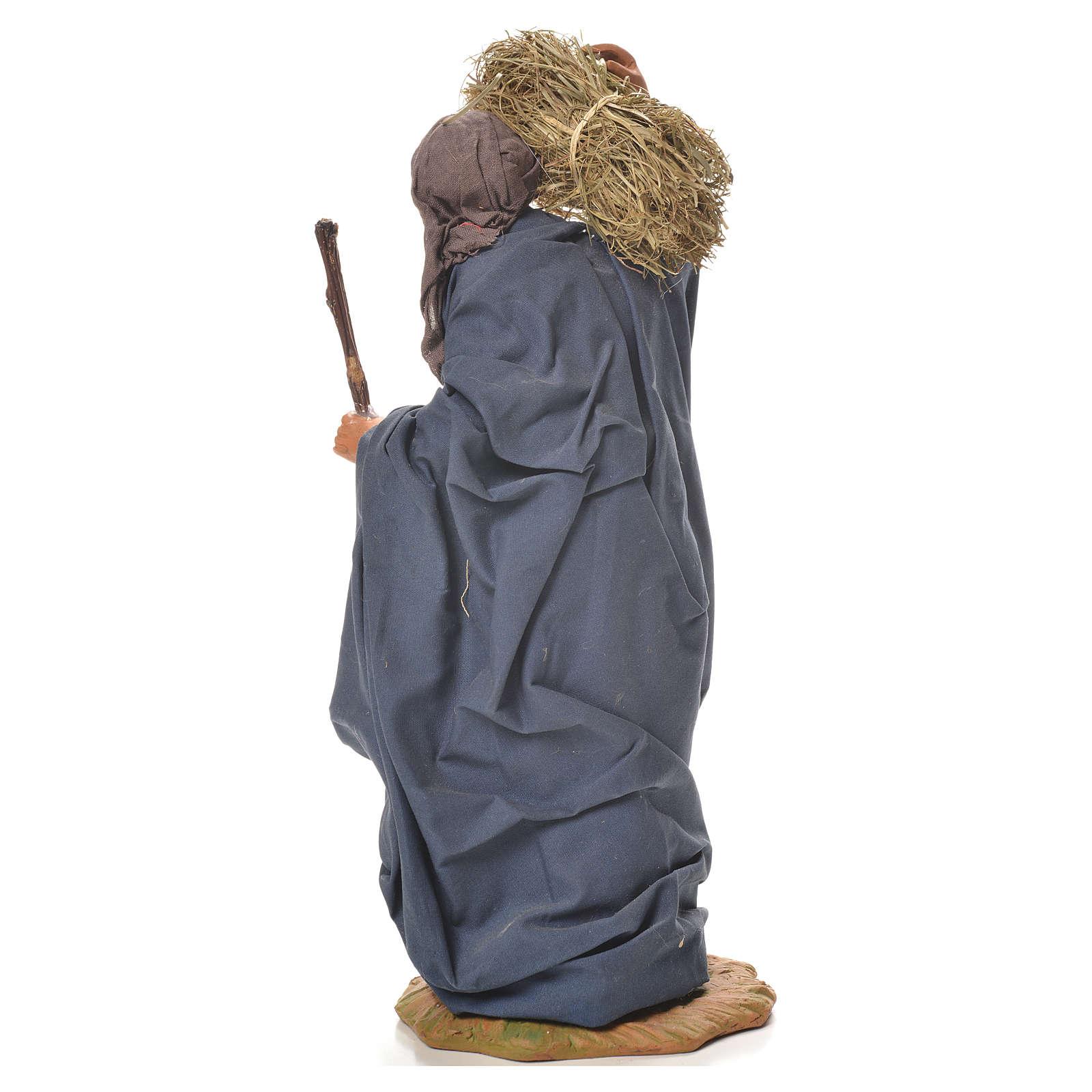 Mujer con paja y escoba 24 cm belén napolitano 4