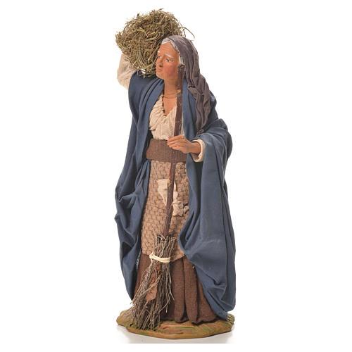 Mujer con paja y escoba 24 cm belén napolitano 2