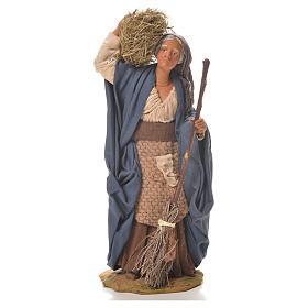 Donna con paglia e scopa 24 cm presepe napoletano s1
