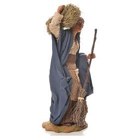 Donna con paglia e scopa 24 cm presepe napoletano s4