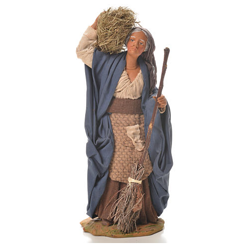 Donna con paglia e scopa 24 cm presepe napoletano 1