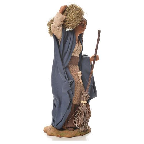 Donna con paglia e scopa 24 cm presepe napoletano 4