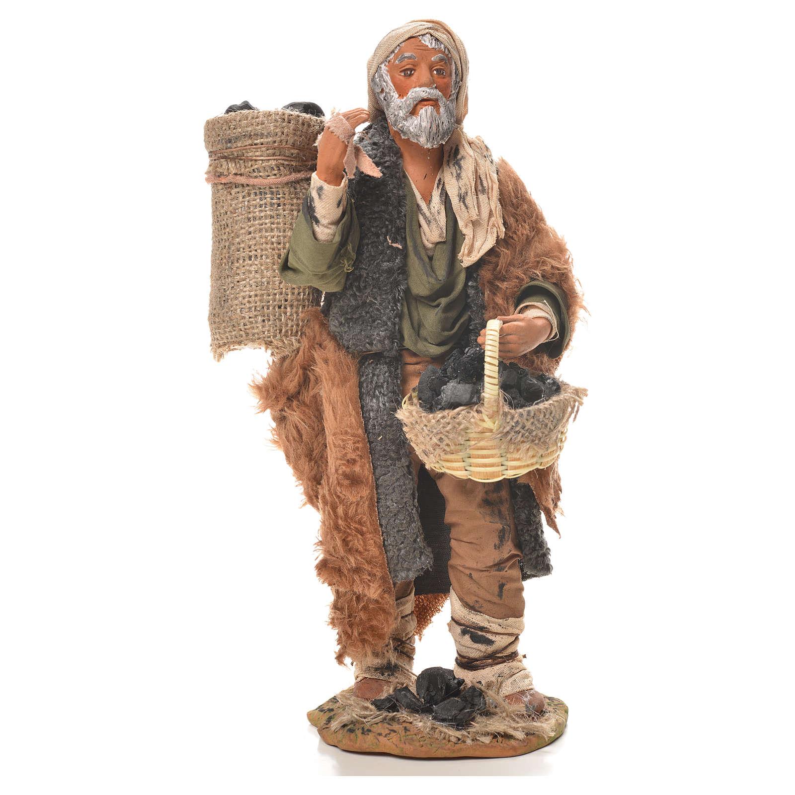 Charcoal burner with sack, Neapolitan nativity figurine 24cm 4
