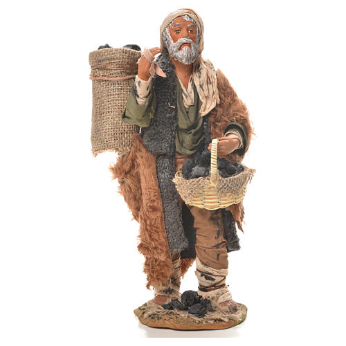 Charcoal burner with sack, Neapolitan nativity figurine 24cm 1