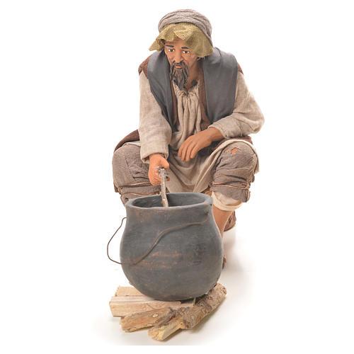 Homme avec chaudron 30 cm crèche napolitaine 6