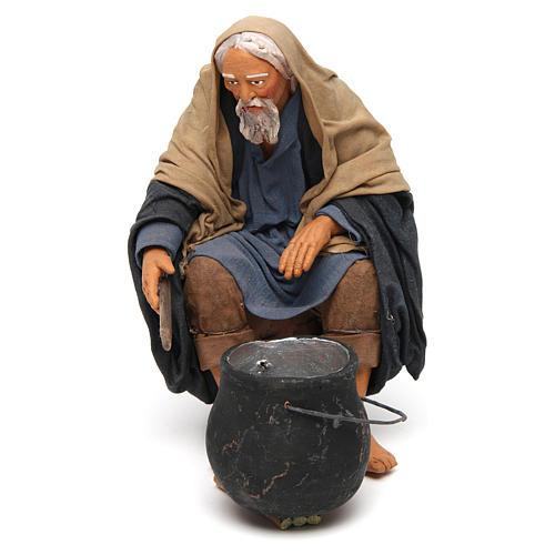 Uomo con pentolone bivacco 30 cm presepe napoletano 1