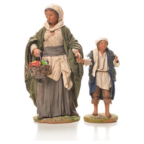 Mamma con bimbo per mano 24 cm presepe Napoli 1