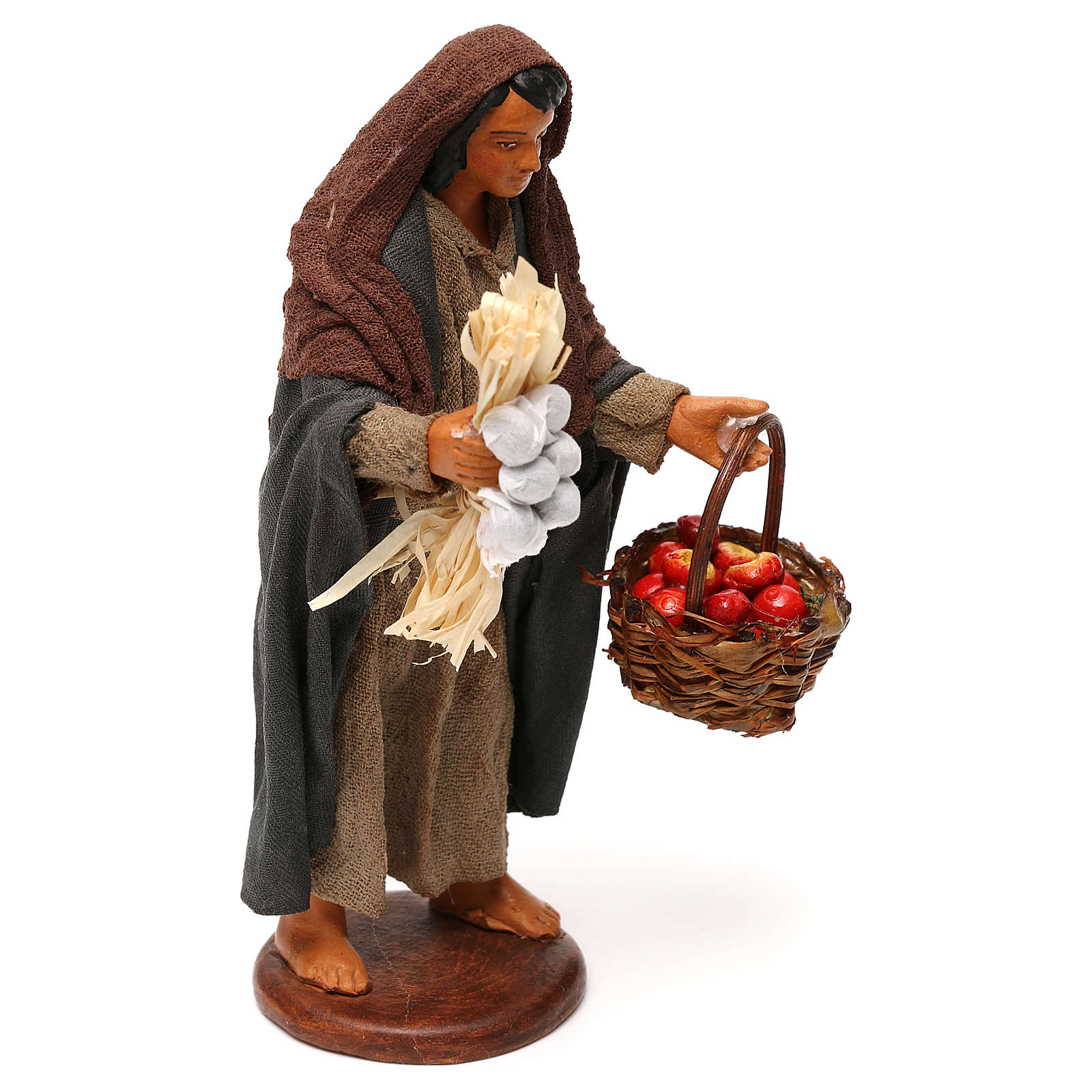 Woman with apple basket, Neapolitan Nativity 12cm 4