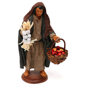 Neapolitan Nativity Scene: Woman with apple basket, Neapolitan Nativity 12cm