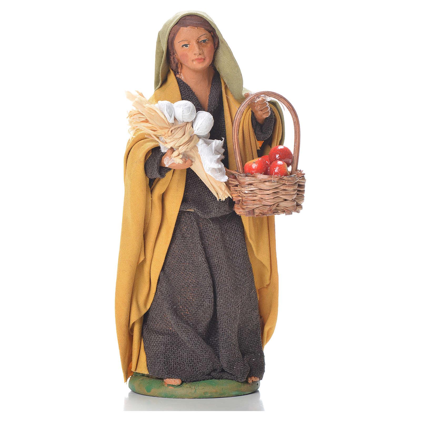 Donna con cesto di mele 12 cm presepe napoletano 4