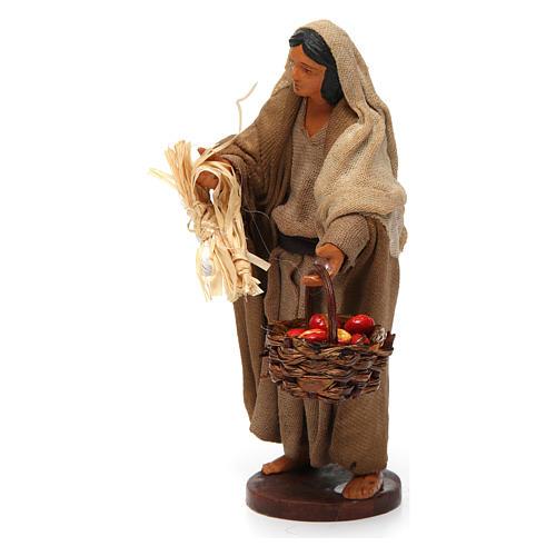 Donna con cesto di mele 12 cm presepe napoletano 2