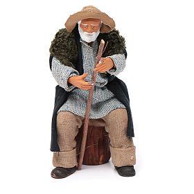 Vecchio seduto con bastone 12 cm presepe Napoli s1