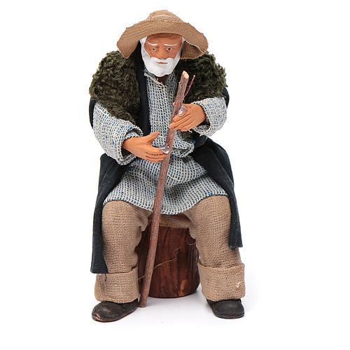 Vecchio seduto con bastone 12 cm presepe Napoli 1