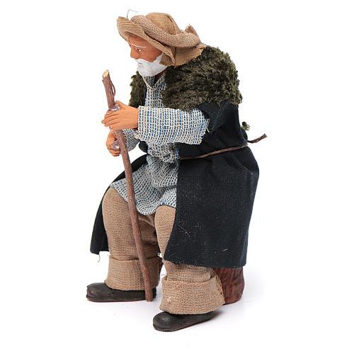 Vecchio seduto con bastone 12 cm presepe Napoli 2