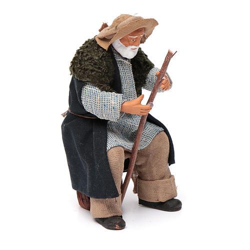 Vecchio seduto con bastone 12 cm presepe Napoli 3